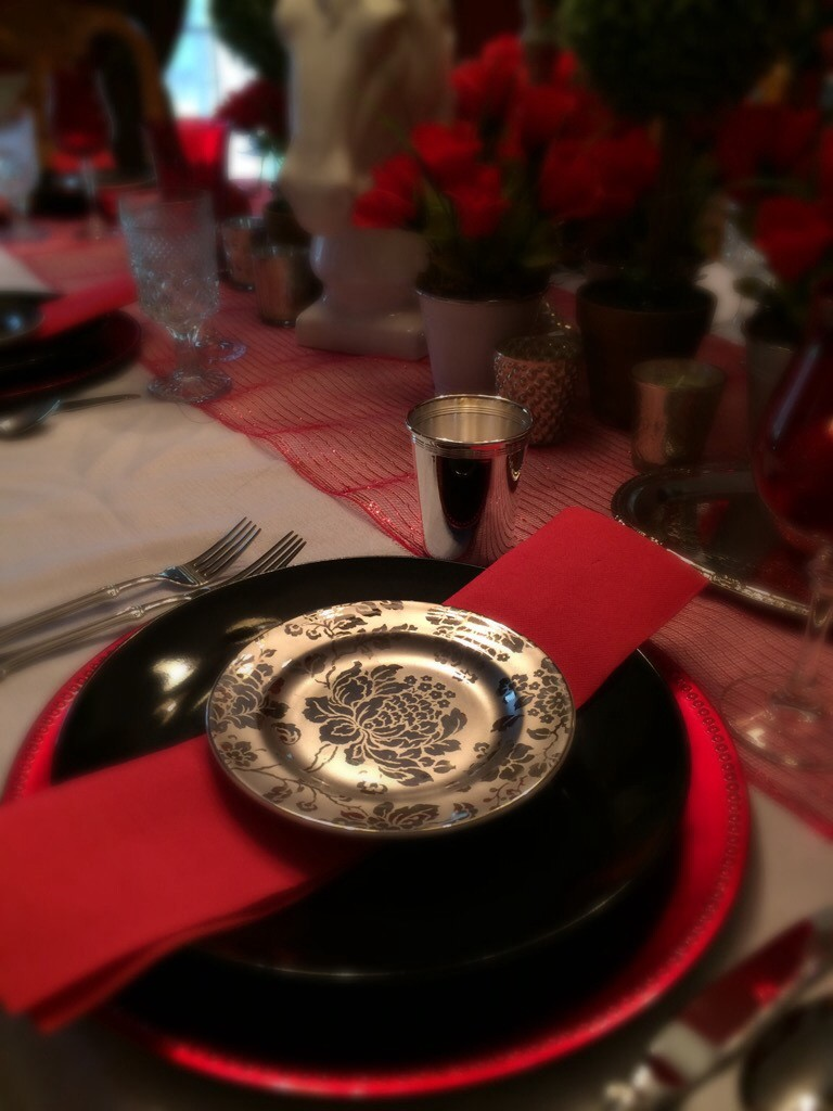 Red, black and silver tablescape