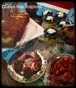 Cream Cheese stuffed banana bread Bacon wrapped Pineapple, Fresh Fruit cups, Dipped Strawberries